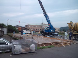 1.基礎工事 コンクリート打設